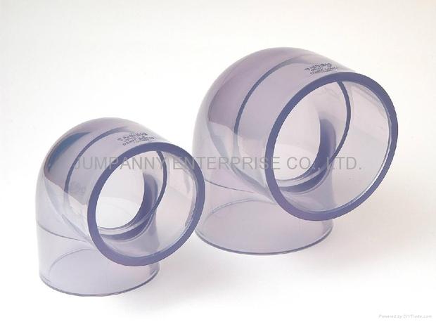 透明PVC 90度弯头 塑胶管件